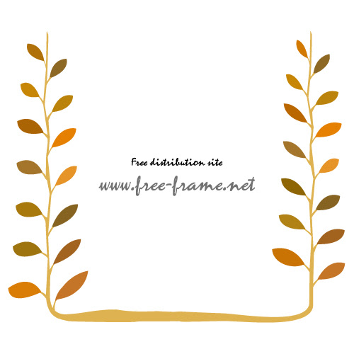 秋っぽい紅葉した植物のイラストフレーム枠 無料商用
