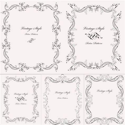 Vintage style frames vector. Set of 5 decorative vector