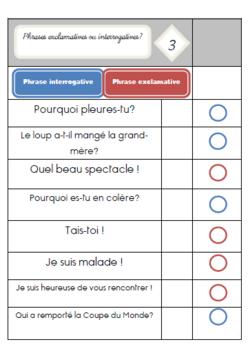 Les cartes à choix multiples : Les types de phrases : ? / !