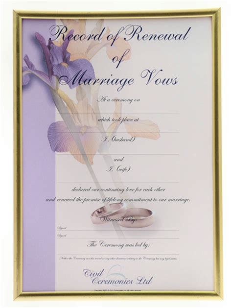 Renewal of Vows Certificate > Renewal of Vows Ceremony