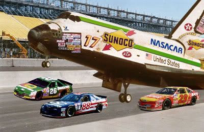 Space shuttle Endeavour takes part in Tennessee's Purolator 500.