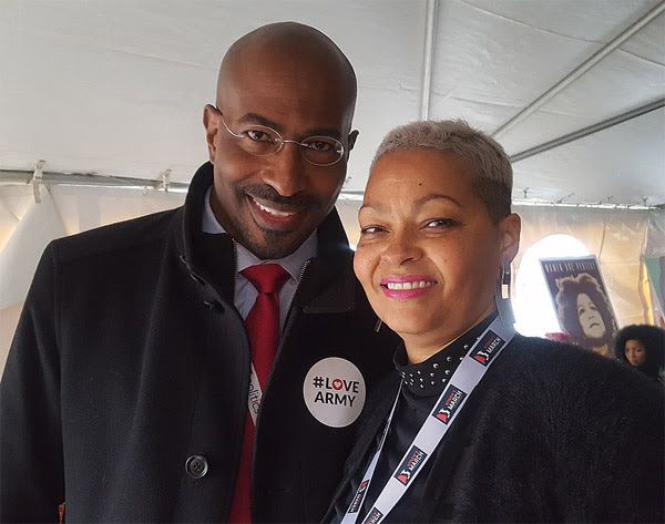 Donna Hylton poses with former President Obama's green jobs czar, Van Jones, at the Women's March on Washington (Photo: DonnaHylton.com)