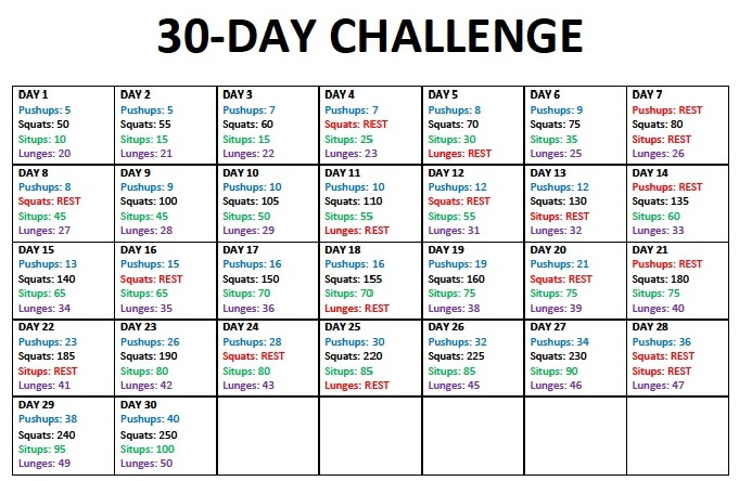 30 Day Challenge Printable Calendar 02 Seating Plan