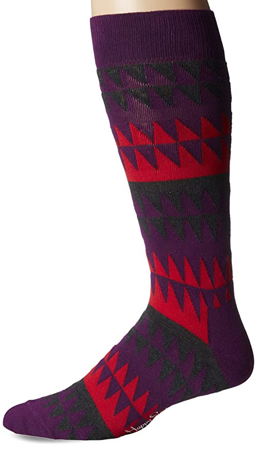 Happy Socks Men's 1Pk Combed Cotton Disturbed Stripe Crew Sock, Medium Purple, 10-13