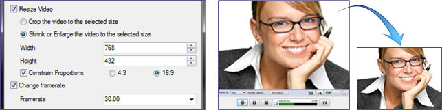 Resize and adjust before you record video.
