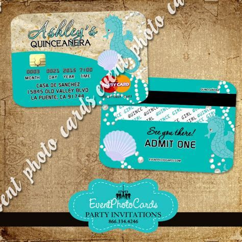 Sea Beach Credit Card , Sweet 15th Invitations Quinceanera