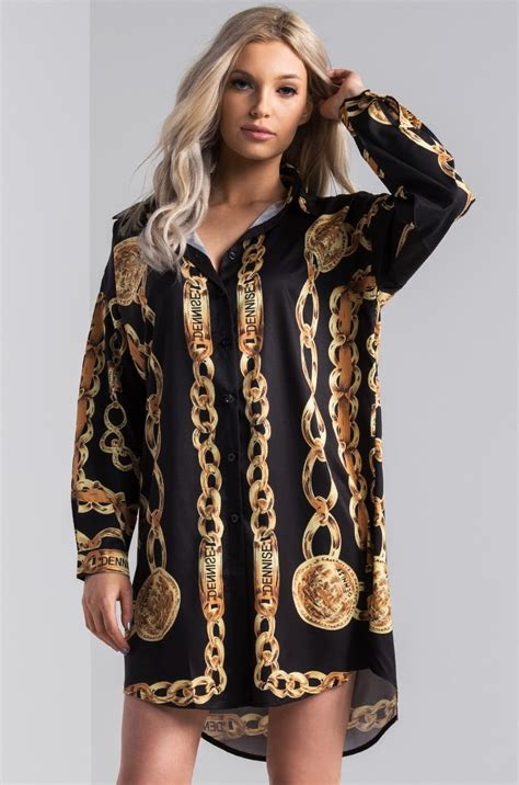 akira long sleeve chain print mini shirt dress  black
