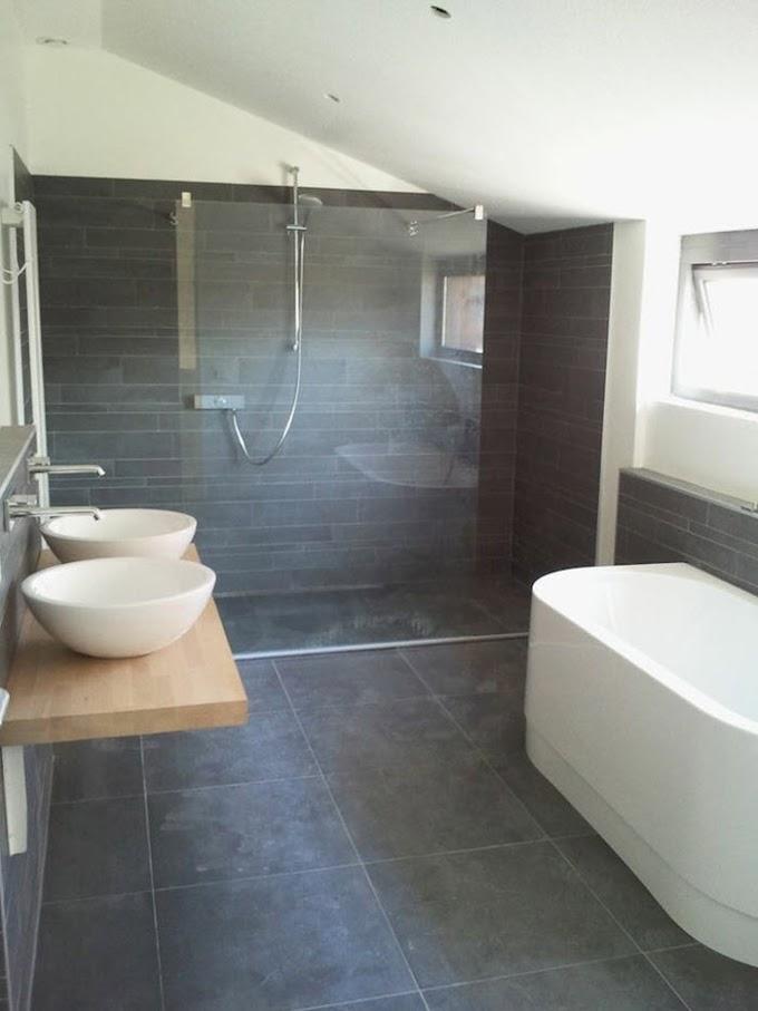 Cool Dark Gray Tile Bathroom wallpaper