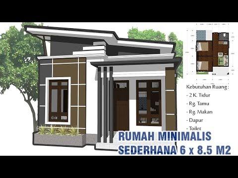 desain rumah minimalis sederhana 6 x 8.5 meter.