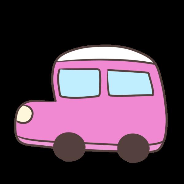 ピンクの車のイラスト かわいいフリー素材が無料のイラストレイン