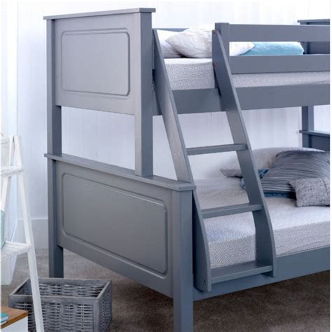 ashley grey triple wooden bunk bed ft single ft small double