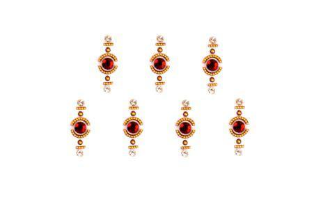 Designer bridal bindis   Red bindis   crystal & stone