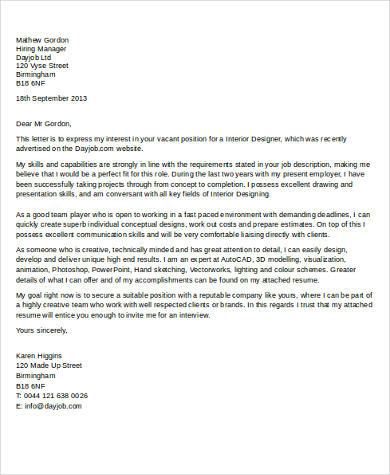 7 Cover Letter Samples For Job Sample Templates