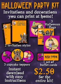 printable Halloween invitations and decorations kit