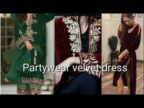 Partywear velvet dress in affordable price.