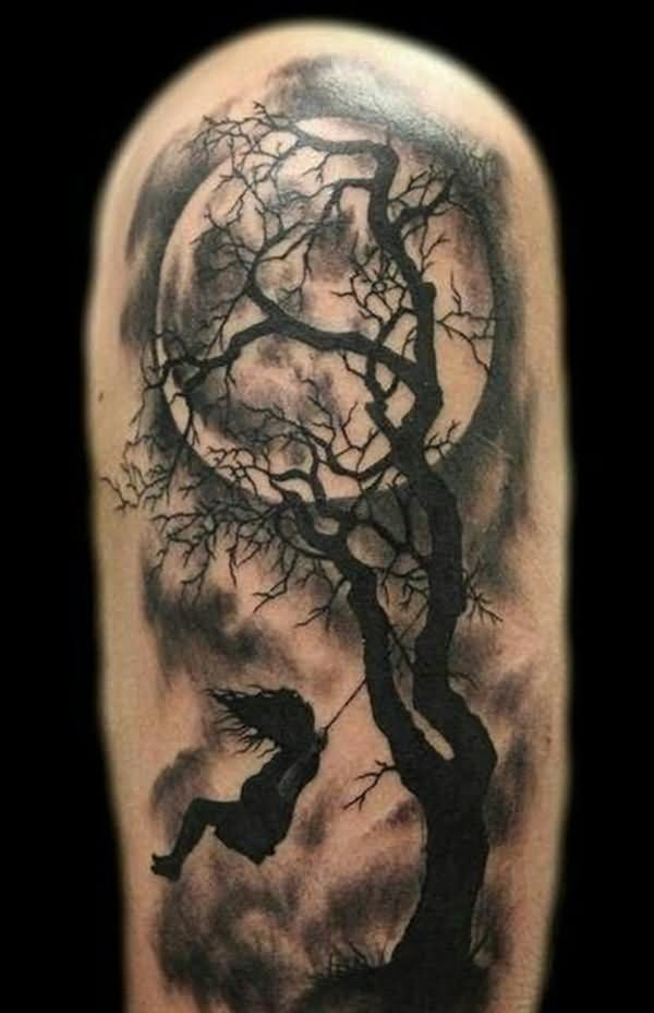 Grey Ink Moon And Tree Tattoo On Left Half Sleeve