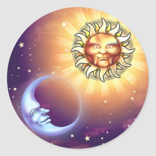 Sun & Moon Faces Stickers from Zazzle.