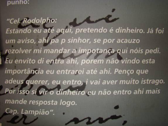 Segundo e derradeiro bilhete de Lampião para o prefeito de Mossoró, tentando extorquir os cofres da cidade, em memorial da Praça da Resistência, em Mossoró - RN