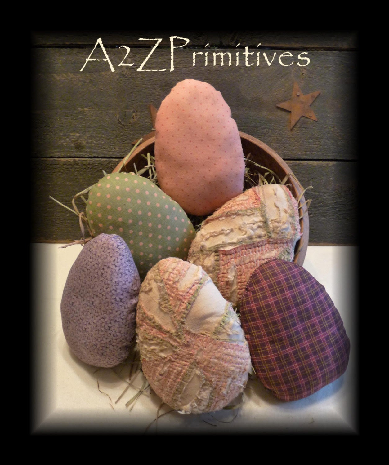 PRIMITIVE SPrinG Grunged Easter EGG Ornies Bowl Fillers