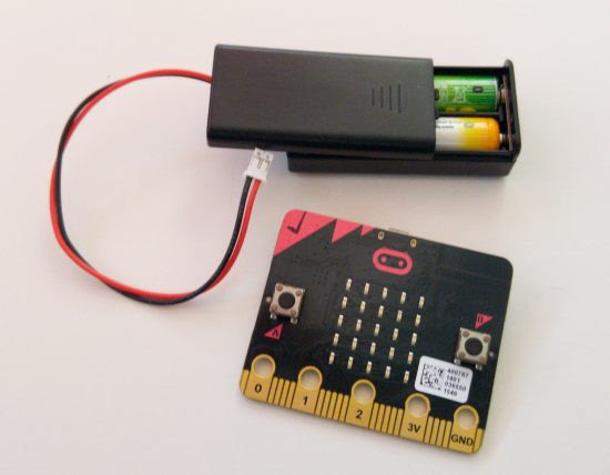 micro:bit with batteries