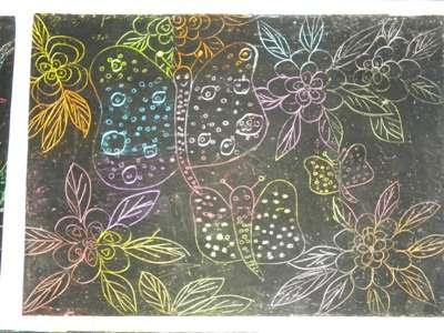 Hüseyin Güllüoğlu Ilköğretim Okulu 5sınıf Pastel Kazıma çalışmaları