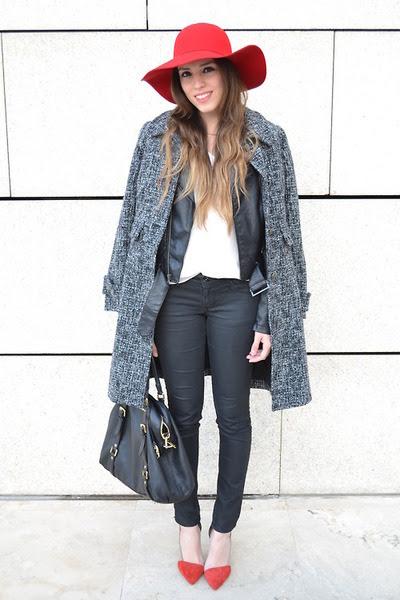 Heather-gray-coat-red-floppy-hat-black-leather-jacket