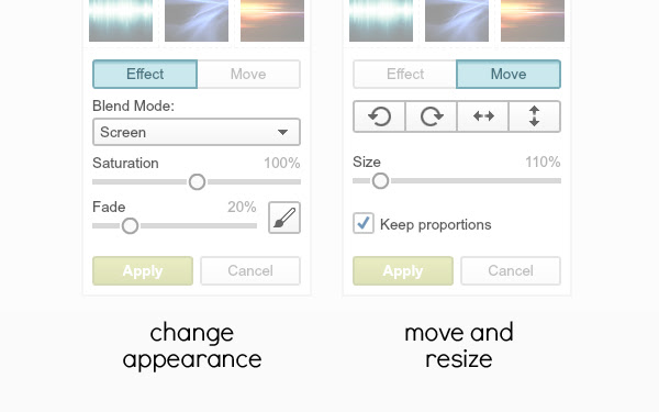 "controls that appear when ""Effect"" and ""Move"" buttons are clicked"