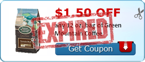 $1.50 off any 12 oz. bag of Green Mountain Coffee