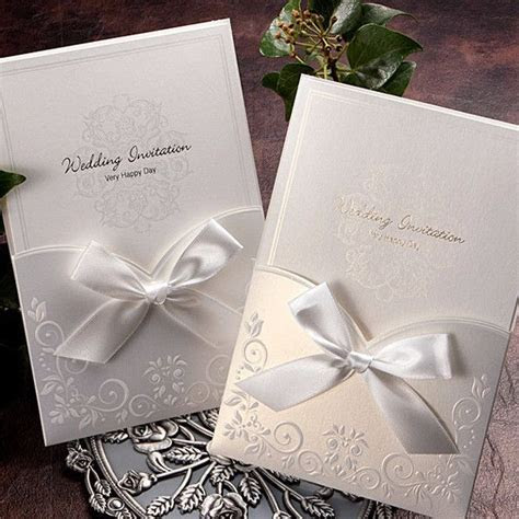 White Ribbon Pocket Elegant Wedding Invitations