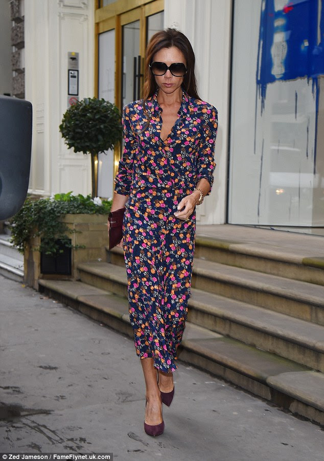 Details: She rocked minimal jewellery and lovely purple heels and a matching clutch