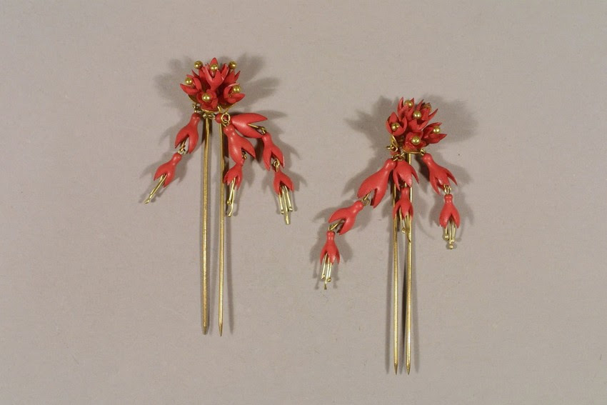 Decorative (coral?) hairpins, 1850s, from Historic New England.
