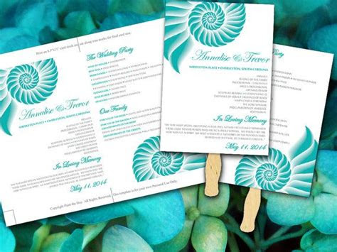 beach wedding fan microsoft word template spiral shell