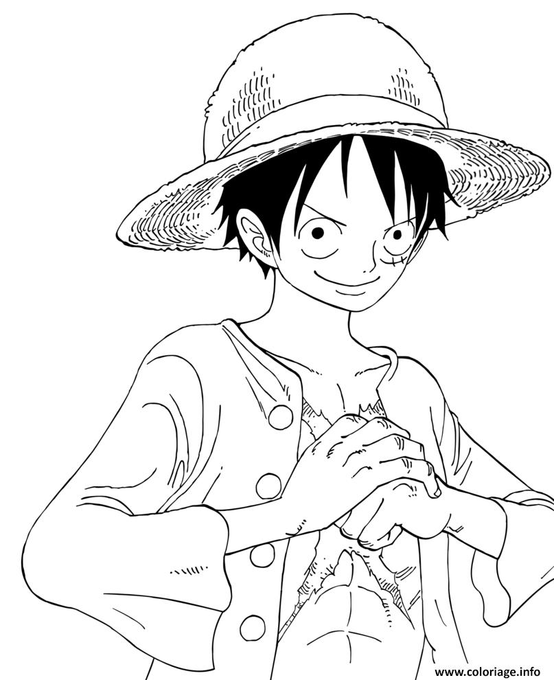Coloriage Luffy epiece Reflexion Sourire Confiant Dessin  Imprimer