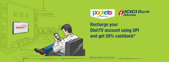 Get 50% cashback(up to ₹100) on Dish TV recharge using Pockets app