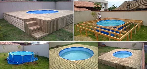 Creative Ideas - DIY Above Ground Swimming Pool With Pallet Deck