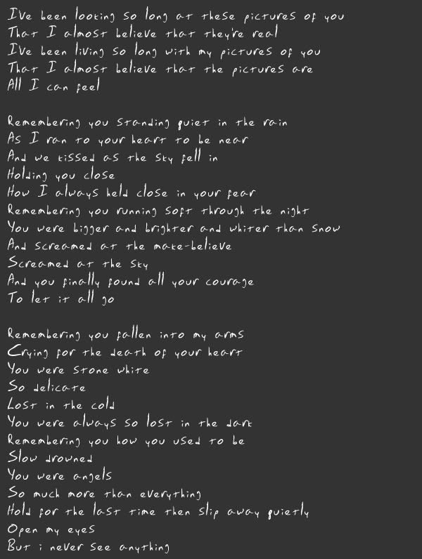 """""""Pictures of You"""" lyrics by The Cure 