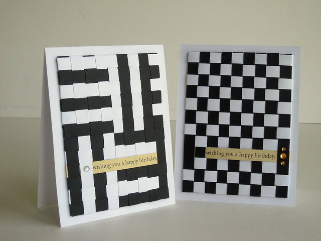 Woven Paper Black and White Birthday Cards