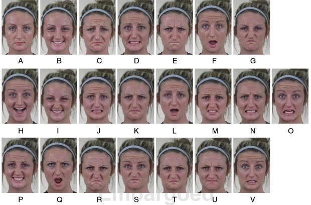 Fotos mostram voluntária fazendo expressões faciais que representam as diferentes emoções (Foto: Ohio State University/Divulgação)