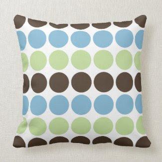 Blue, Spring Green, Brown Retro Circles Pattern