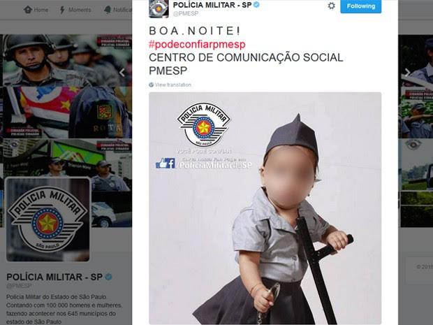 Foto da bebê publicada no Twitter e Facebook da Policia Militar de São Paulo (a distorção do rosto foi feita pelo G1) (Foto: Reprodução/Twitter)