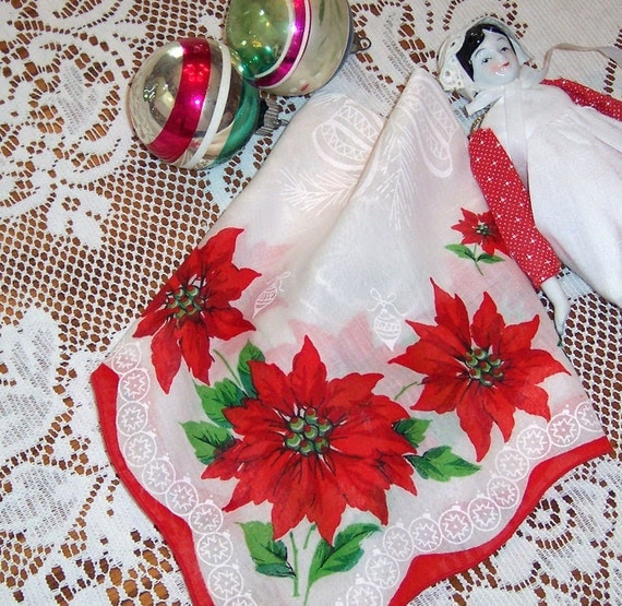 Christmas Hanky Vintage Holiday Decor Holly Berries & Poinsettias 1950's era