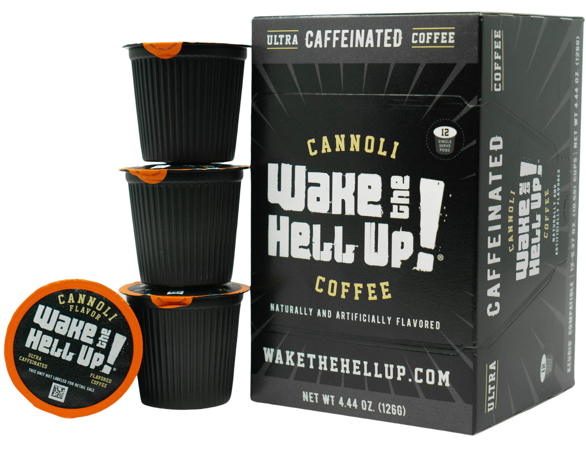 Wake The Hell Up!®️ Single Serve K-Cup Compatible Cannoli Flavored Pod - Utica Coffee Roasting Co.