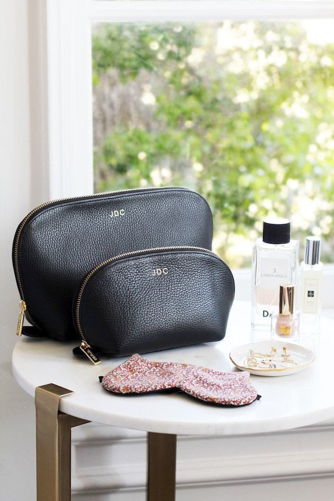 Le Fashion Blog Must Have Monogrammed Makeup Bag Cat Eye Sleep Mask Marble Side Table Limperatrice Perfume Estee Lauder Nail Polish Suite one Studios Ring Dish