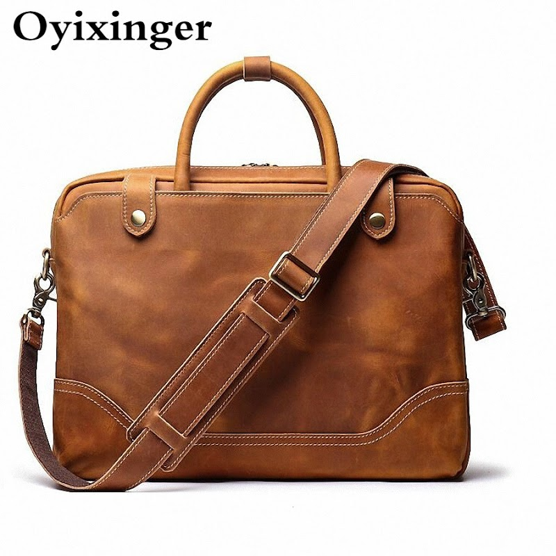NEW High Quality Men Business Briefcase Crazy Horse Genuine Leather Handbag Male 15.6 Inches Laptop Bags Bandolera Hombre Sac Homme