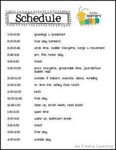 Another toddler schedule. I