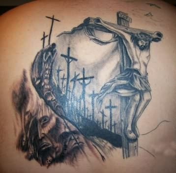 Beautiful Jesus Head And Cross Tattoos On Back