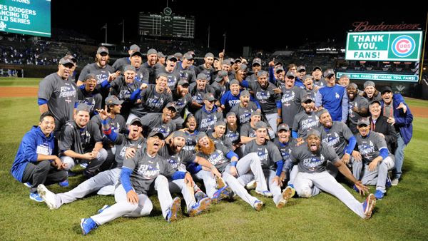 The Los Angeles Dodgers take a group photo after defeating the Chicago Cubs, 11-1, in Game 5 of the NLCS...on October 19, 2017.