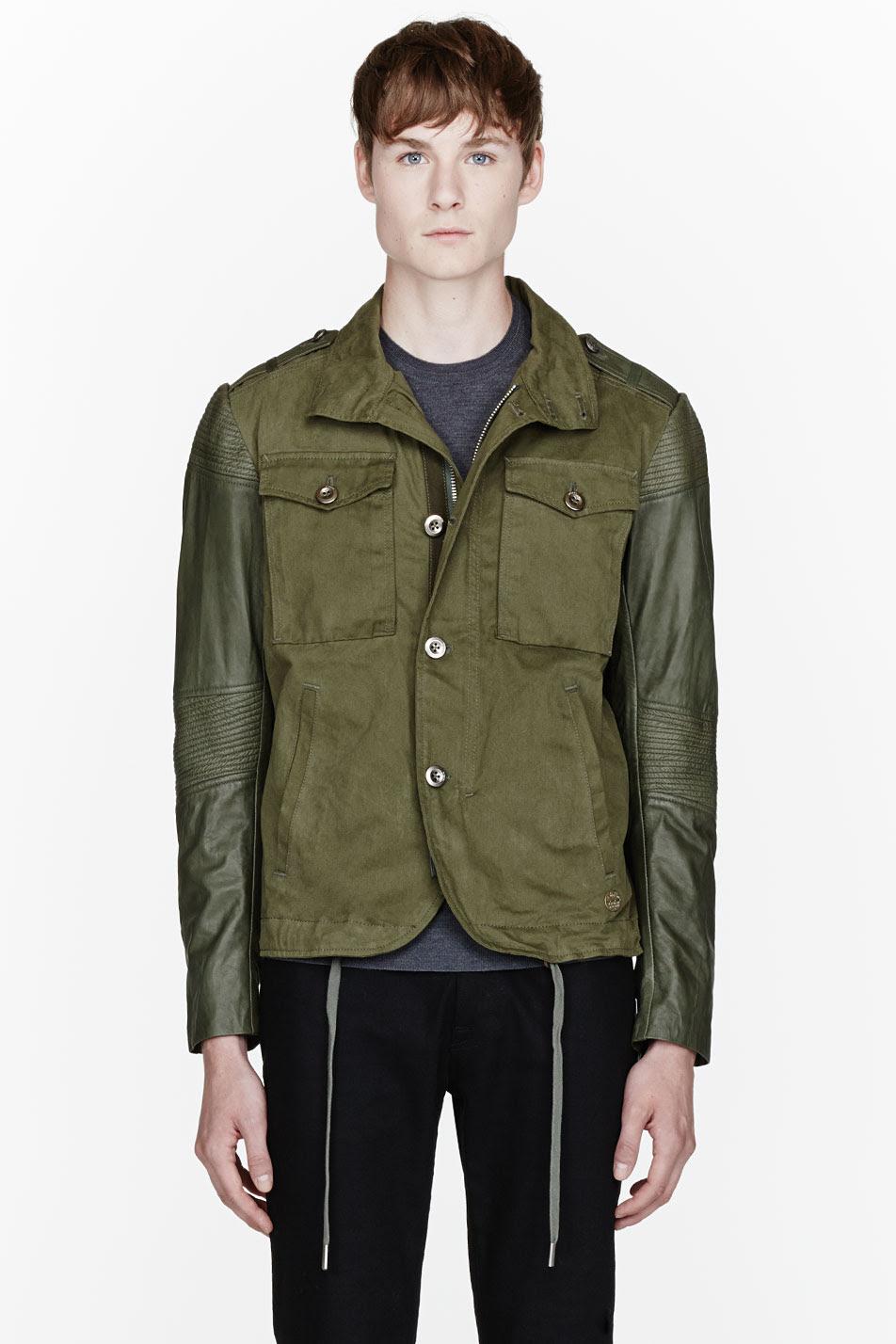 diesel olive green leathersleeve lading jacket in green