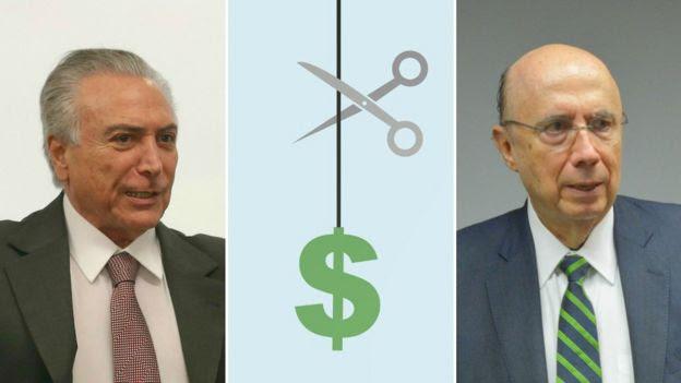 O presidente interino Michel Temer e o ministro Henrique Meirelles (Fazenda)