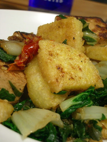 Tofu Polenta Bake with Bok Choy